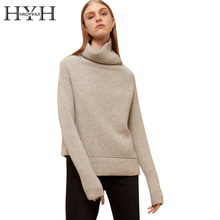 HYH HAOYIHUI Turtleneck Khaki Knitted Sweaters Long Sleeve Irregular Hem Women Pullovers Casual Autumn Winter Sweater Jumper(China)