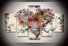Modern HD Printed Love Floral Patterns Painting 5 Panel Wall Art Home Decor Canvas Paitings Abstract Wall Paintings