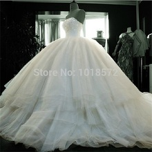 Brand New Wedding Dresses 2017 Super Ball Gown Princess Formal Dress Fashionable White/Ivory Elegant Strapless Bridal Gown