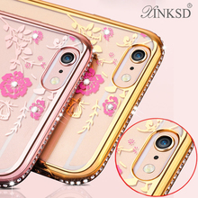 Transparent Bling Diamond Crystal Secret Garden Flowers Lace Plating TPU Soft With finger ring lanyard For iphone 6 6 PLUS Case