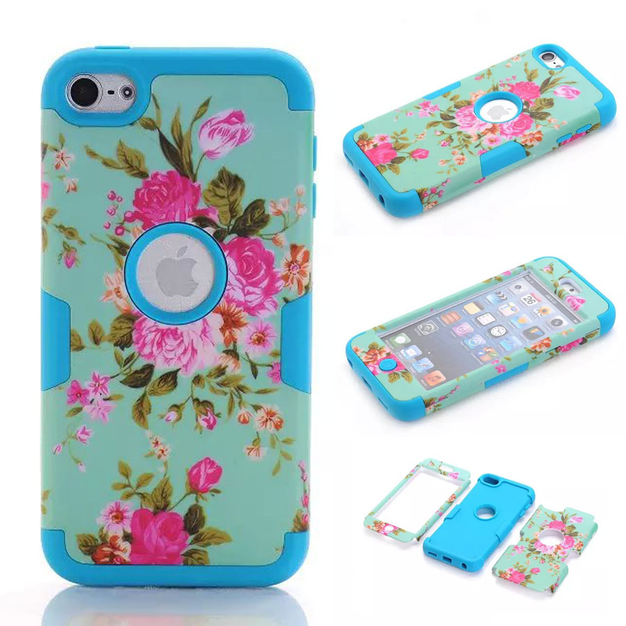 New Design Flower Pattern PC + Silicone Cover for iPod Touch 6 Hybrid Detachable Armor Skin Cases Funda for Touch6 iPod 6Colors(China (Mainland))