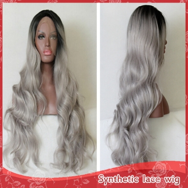 Synthetic Lace Front Wig Ombre Black/ Grey Glueless Heat Resistant hair Wigs Free shipping US Dark Roots 26inch Stock <br><br>Aliexpress