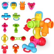 Wisleo 12pcs Baby Rattle Teether Toys Educational Cartoon Musical Gift Set for Baby Infant, 12-in-1 DIY Free Combination(China)