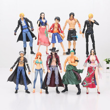 16-18cm One Piece Action figure Variable Heroes Luffy Ace Zoro Sanji Sabo Law Nami Mihawk PVC Figure Model Toy(China)
