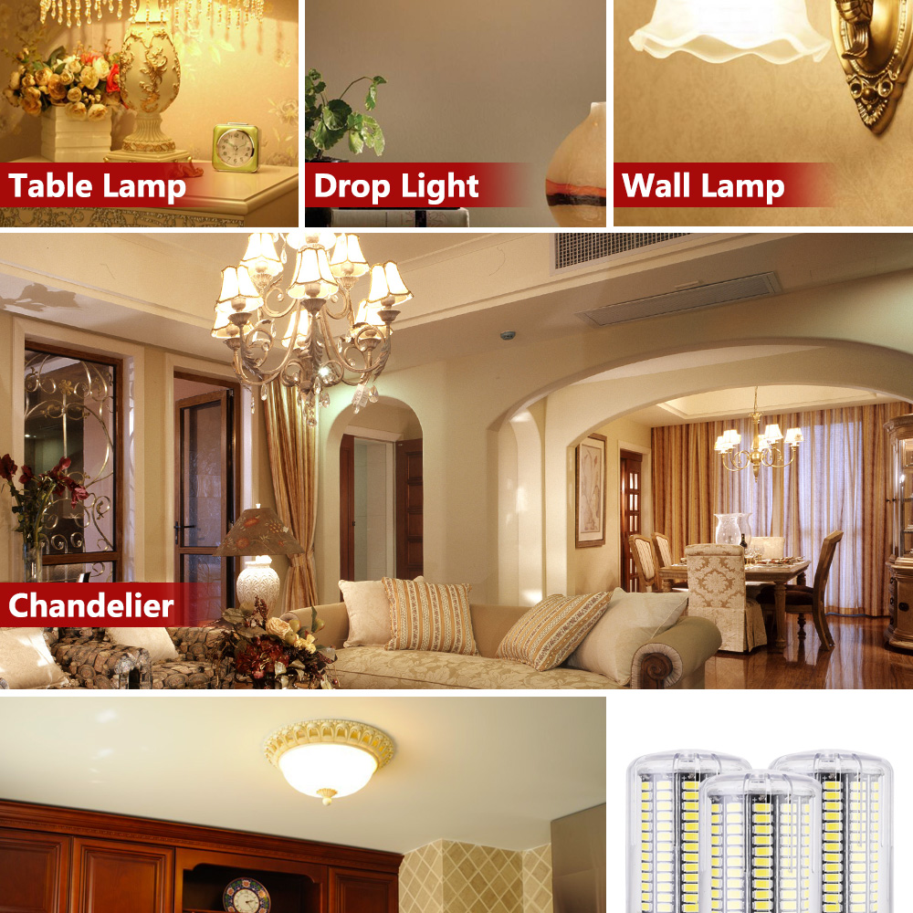 LUCKY LED Corn Bulb Light E27 E14 3W 5W 7W 9W 12W 15W No Flicker 360 degrees for Pendant Light Source AC110V 220V 5730 SMD lamp 4
