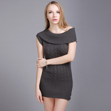Sell Ladies Slim Fit  Off Shoulder Cable Knitting Sleeveless Sweater Sexy  Charcoal Color S M L