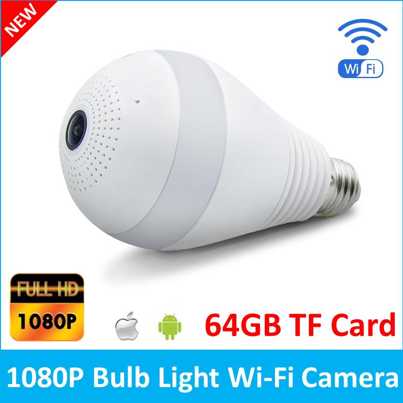 1080P HD Bulb Camera Led Lamp Light Wireless IP Panoramic Camera Wi-fi FishEye 360 Mini CCTV VR Camera 64GB Home Security V380<br>