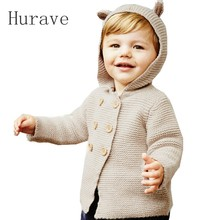 Hurave  autumn children clothing kids cardigan sweaters double breasted girls baby cute boy sweater fashion knitted outerwear