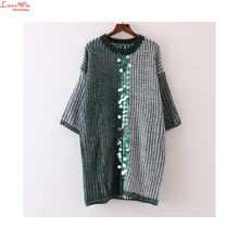 Colored Sequins Appliques Batwing Sleeve Fron Split Sweater Dresses Winter Long Knitting Sweaters Maglione(China)