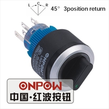ONPOW 22mm Three position Return 2NO2NC Ring LED illuminated Plastic selector switch (LAS1-AWY-22X/33/G/12V) CE, UL, ROHS(China)