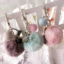 Korea Handmade Alloy Plush Ball Car Key Chain Mobile Phone Bag Pendant Fashion Jewelry Accessories For Woman-SWKKC024F