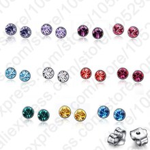 JEXXI Wholesale Lots 20PCS 925 Sterling Silver AAA Colorful Crystal Stone Woman Stud Earrings +Back Stoppers Women Jewelry
