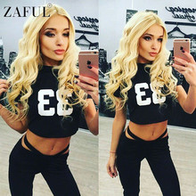 ZAFUL Women Yoga Sets Letter Print Fitness Workout Clothing Gym Running Girls Sexy Slim Sport Wear Suit 2 Pieces