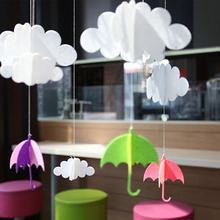 6 PCs/ Lot Cloud Droplets Umbrella Hanger Creative Hanging Gift Halloween Wedding Decoration Fiestas Birthday Party Supplies