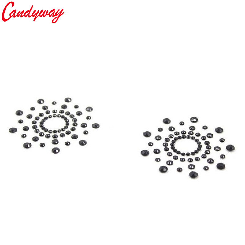 Beauty Flower Shape Paste Breast Bra Sequin Adhesive erotic lingerie Stickers Nipple Cover Milk Paste for Sexy Women Ladies 5