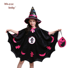 2018 Easter Party Dress For Girl Fashion Butterfly Hat+Cartoon Dresses+Pumpkin Bag 3Pcs Kids Suit Cosplay Dance Children Costume(China)