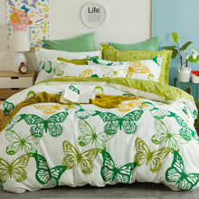 Pastoral green butterfly print bedding sets 100% Pure cotton comforter cover set sabanas type queen size SP4194 FREE SHIPPING