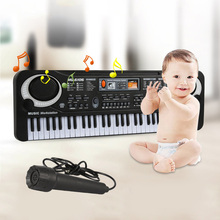 61 Keys Electronic Piano Toy w/ Microphone Electronic Organ Simulation Instrument Keyboard Music Learning Toys for Kids As Gift