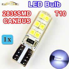 Car LED Bulb T10 2835SMD CANBUS Silicone Shell 12 Chips W5W 12V Cold White Color Canbus Auto Side Clearance Plate Lamp