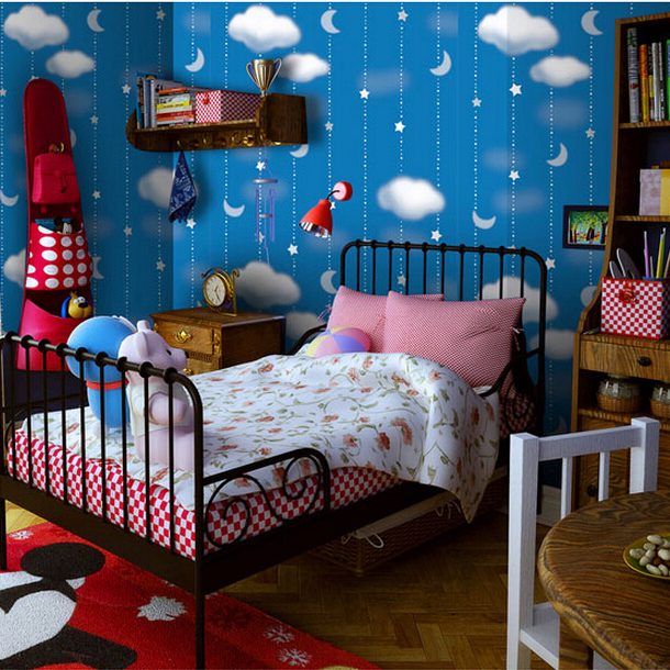 Child room starry night and cloudy nature wallpaper for papel de parede infantil protect kids health<br>