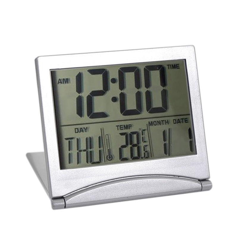 Folding LCD Digital Alarm Clock Desk Table Weather Station Desk Temperature Travel elEctronic Mini Clock
