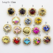 10pcs 4 hole glass Rhinestone Button high quality sewing Accessories for wedding embellishment headband Decoration
