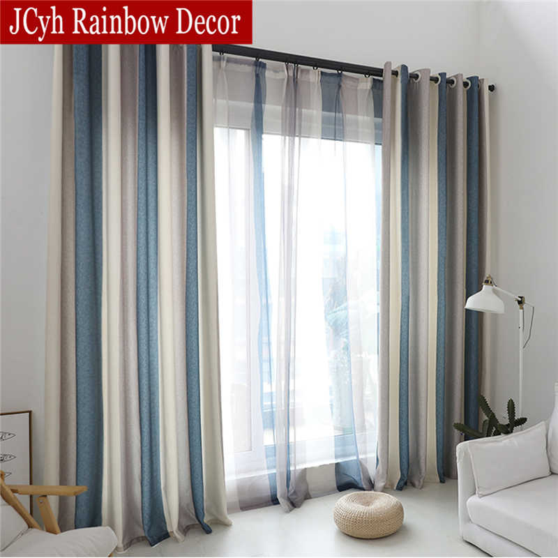 Modern Blue Stripe Blackout Curtains For Living Room Decoration Window Curtains Bedroom Short Door Curtain Drapes Rideaux Firany