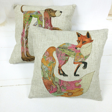 Car-covers Store Dog and Fox Cojines 45cmX45cm Square Linen Fabric Home Decoration Sofa Car Chair Seat Decor Throw Pillow Cases(China)