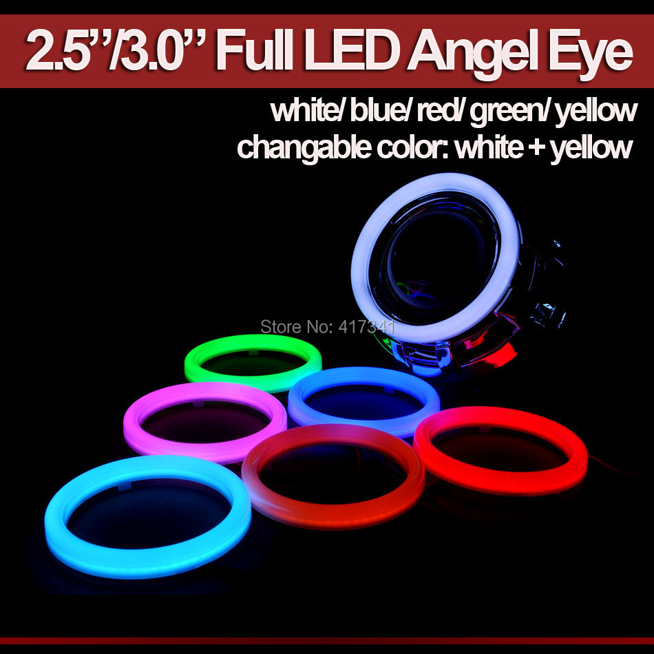 Full LED Angel eye Halo Ring 2.5/3.0 Inches LED DRL HID Projector Lens Car Headlamp White Blue Red Green Yellow White+Yellow
