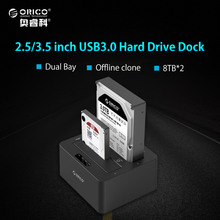 ORICO 6629US3 2-bay External Hard Drive Docking Station USB3.0 to SATA 2.5 3.5 In with Offline Clone Support UASP Protocol 16TB
