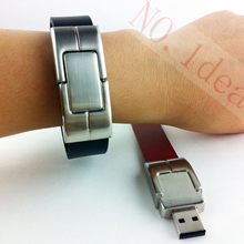 Metal wristband Leather Bracelet customized USB flash drive full capacity 2GB 4GB 8GB 16GB 32GB 64GB pendrive memory stick(China)