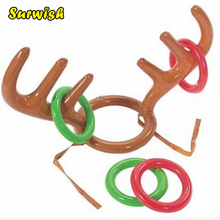 Surwish Children Kids Inflatable Santa Funny Reindeer Antler Hat Ring Toss Christmas Party Supplies Toys(China)