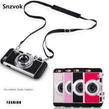 Fashion 3D style Vintage Camera Phone case for iPhone 7 7 plus 6 6s plus 5 5s hard PC + soft silicone 2 in 1 case with lanyard