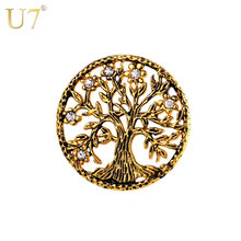 U7 Brand Tree of Life Brooches Gold Color Stainless Steel Rhinestone Men/Women Lucky Jewelry Round Vintage Pins Broches B117(China)