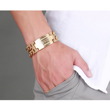 Men's Greece Key ID Tag Bracelet for Men Stainless Steel Male Double Cuba Chain Bangles Bileklik Hiphop Jewelry Bold and Chunky(China)