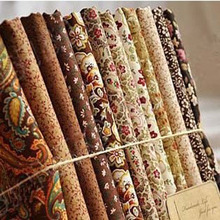 ROYAL DIY 100%COTTON 12 design mix brown flower rose feather fabric patchwork textile 24CM x 24CM High quality Free shipping(China)