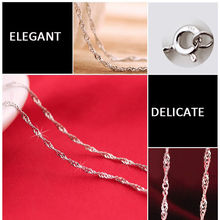"1 pc Exquisite Genuine plated  Silver ""Water Wave"" Link Chain Charmming Necklace fine jewelry"
