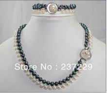Wholesale price FREE SHIPPING ^^^^SET OF 2STRANDS 8-9MM AAA SOUTH SEA White black Pearl Necklace Bracelet