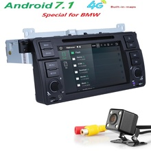 Free shipping Quad Core Car DVD Player Stereo Android 7.1 GPS Navigation Bluetooth Free Camera For BMW E46 SWC DVR RDS DVBT DAB+