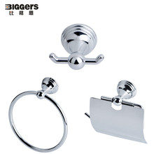 Free shipping,chrome polished cheap price metal bathroom accessories set 3pcs set coat hook towel ring paper holder