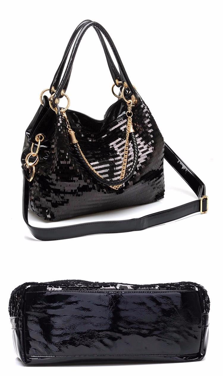 buy cheap Glisten Black studded Shoulder bag Leather Handbag