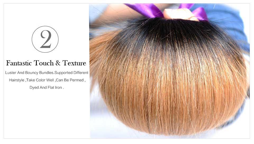 Straight Ombre Brazilian Hair T1B27 Blond Hair Weave (1)