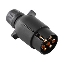 12V 7 Pin Electric Trailer Plug N-Type Plastic 7-Pole Wiring Connector Adapter Black Caravan Truck Plug