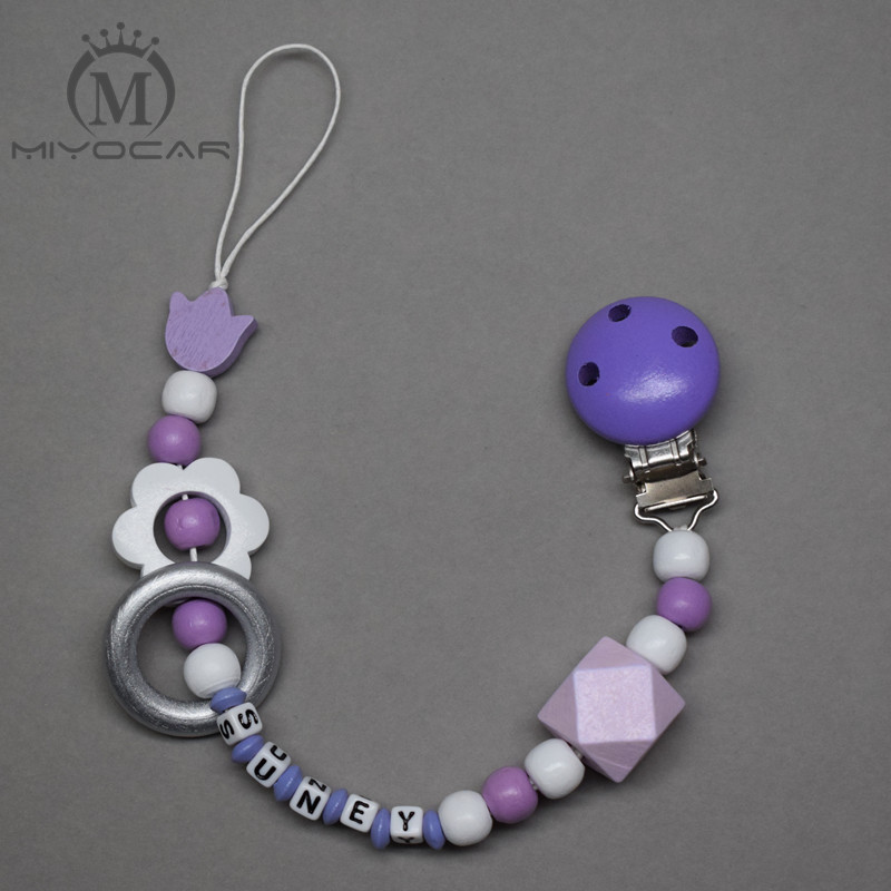 MIYOCAR personalized name purple white wooden beads dummy clip holder pacifier clips holder/Teethers clip baby