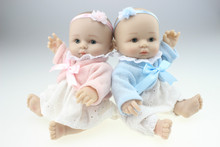 Buy MINI Style Twin Doll Cute Sweet Little Baby Silicone Vinyl Babydoll Babies Sleeping Bathing Toys