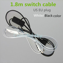 line Cable 1.8m On Off Power Cord For LED Lamp with Button switch switch US EU Plug Light Switching White Wire Extension(China)