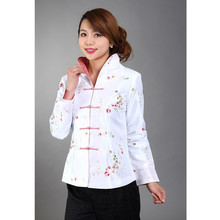Hot Sale White Chinese Women's Silk Satin Embroidery Jacket Long Sleeves Coat Flowers Size S M L XL XXL XXXL