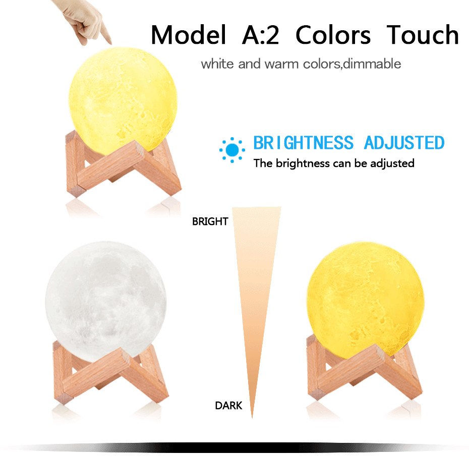 3D Full Moon Lamp Led Night Light USB Rechargeable 3D Print Moon Lamp Touch 2 Color Change / 16 Colors Lampara Luna Lamp Moon 3