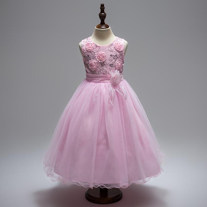 Girls Flower Dress Knee Ball Gown Princess Dress Infant Sleeveless Children Clothes Party Dresses Kids Tulle evening dress<br>