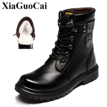 XiaGuoCai New Arrival Genuine Leahter Shoes Men Boots Fashion Fleeces Warm Snow Boots Lace-up Wear-resistant Ankle Boots H592(China)
